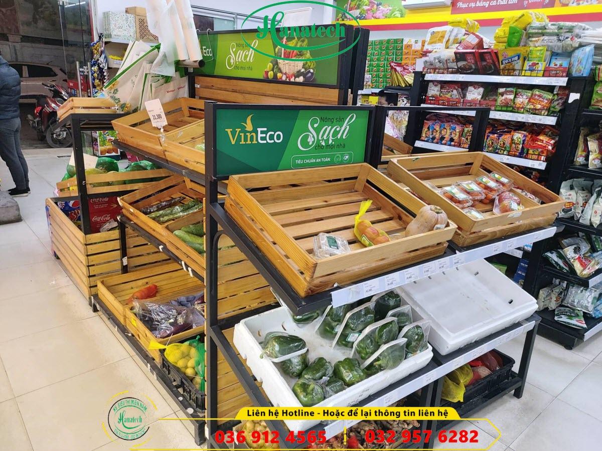 Giá kệ gỗ trưng bày rau củ hoa quả trái cây