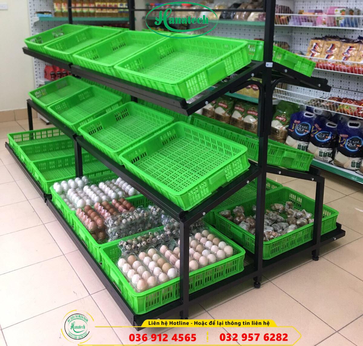 Giá kệ siêu thị trưng bày rau củ quả trái cây