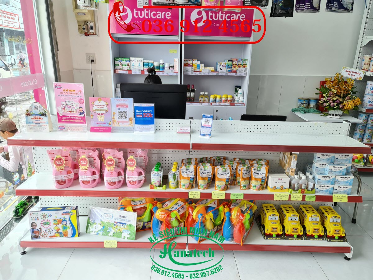 Giá kệ siêu thị trưng bày hàng cho shop cửa hàng mẹ và bé