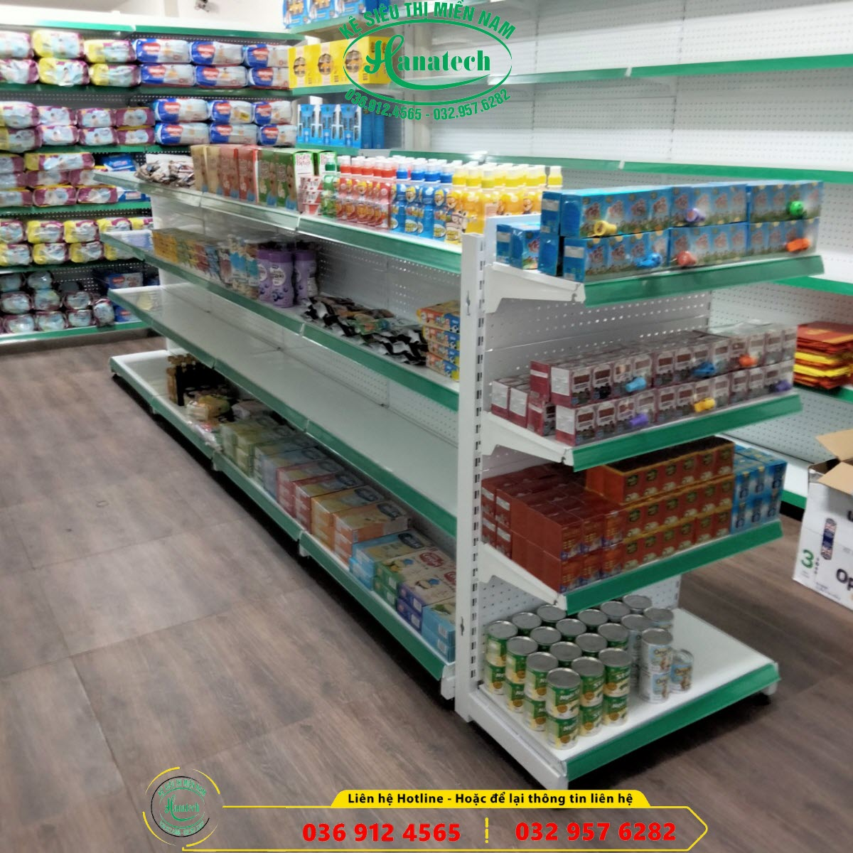 Giá kệ siêu thị đôi lưng tôn đục lỗ bày hàng