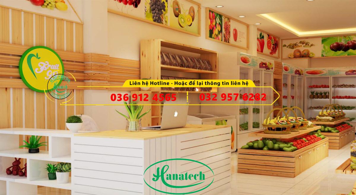 Dịch vụ thiết kế và thi công cửa hàng hoa quả trái cây và rau sạch