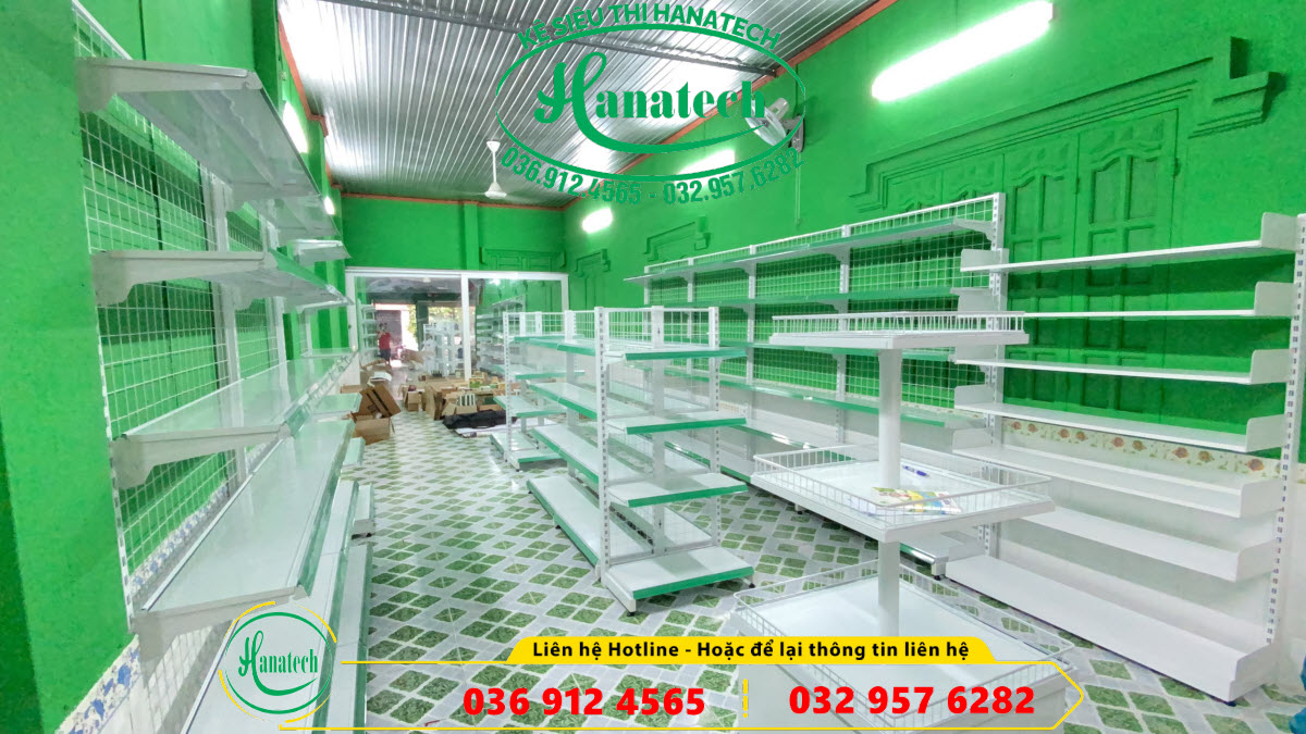 Lắp đặt kệ siêu thị cho chuỗi cửa hàng sữa Nutrimart tại Tam Phước - Đồng Nai