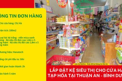 Lắp kệ siêu thị cho cửa hàng tạp hóa tại Thuận An Bình Dương